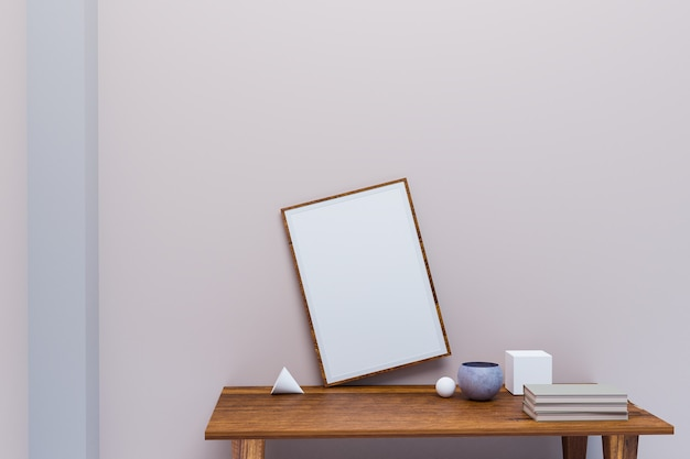 Picture frame in minimal style room, clearly room, 3d illustration rendering