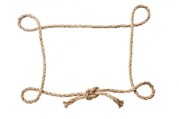 白い背景で隔離のロープの額縁