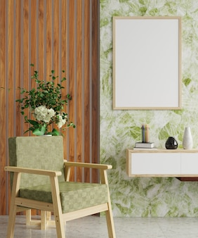 Tv 캐비닛과 안락 의자에 빈 꽃병이있는 녹색과 흰색 대리석 벽에 액자