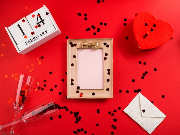 Picture frame for valentines day greetings on red