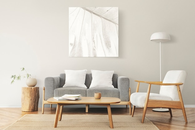 Picture frame on a wall with scandinavian home interior