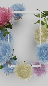 Рамка для картины с наложенными разноцветными цветами. 3d-рендеринг.