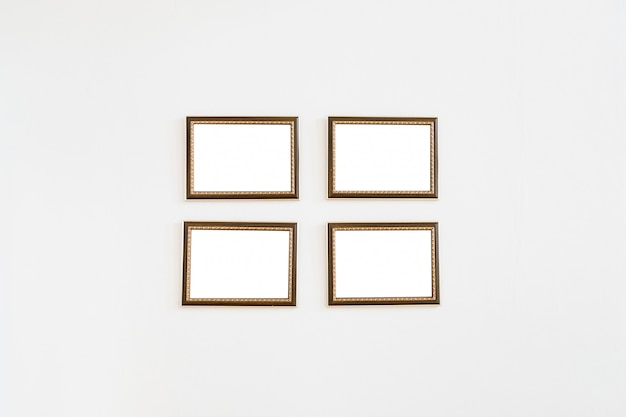 Picture frame wooden four on wall