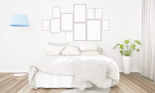 Picture frames collage on a bedroom wall