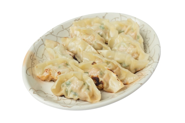 Picture of fried dumplings or gyoza isolated on white