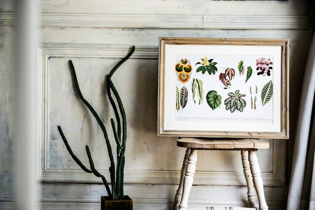 Picture go hand drawing flowers collection in a frame