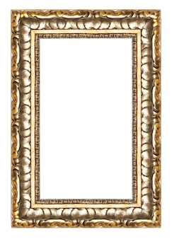 Picture gold frame with a decorative pattern isolated over white