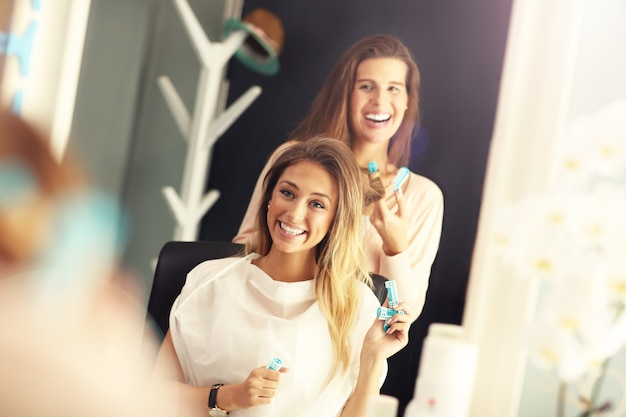 Picture of happy woman in hair studio