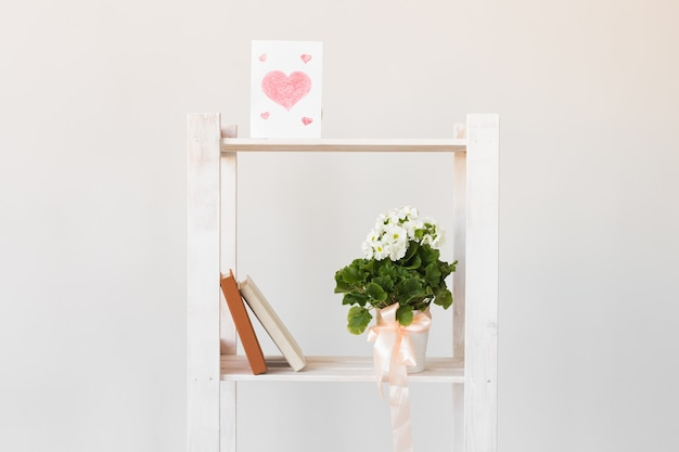 Picture of heart and books and indoor plant on a bookshelf