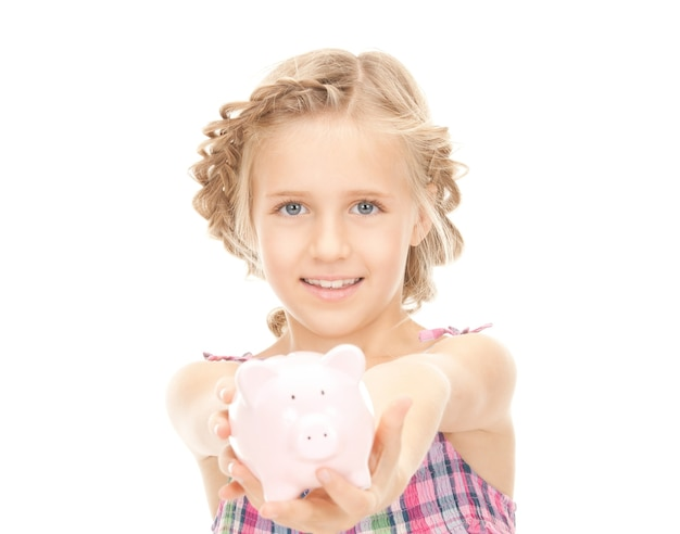 Picture of little girl with piggy bank