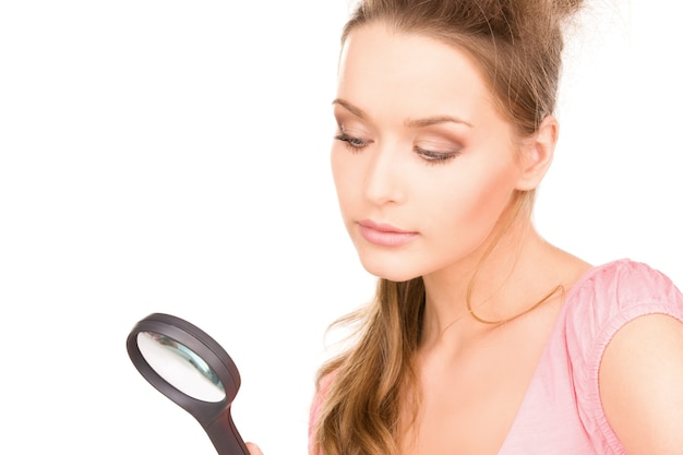 Picture of lovely woman with magnifying glass