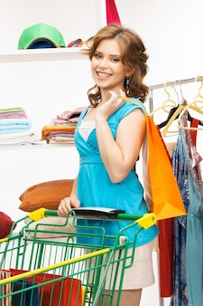 Picture of lovely woman with shopping cart