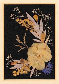 말린 식물과 꽃으로 만든 그림. 손으로 만든 오래된 자연 그림.