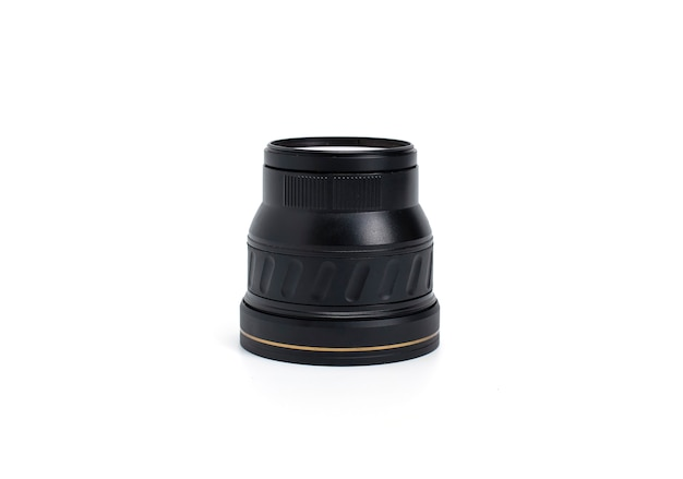 Picture of a magnifying lens on a white background