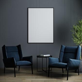어두운 벽에 검은 색 세로 프레임이있는 그림 모형. 파란색 안락 의자, 포스터 모형이있는 세련된 어두운 인테리어. 3d 렌더링
