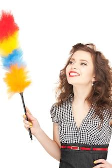 Картина красивой женщины с уборщицей