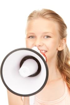흰색 위에 확성기와 소녀의 사진