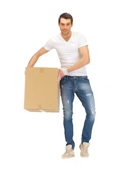 큰 상자와 잘생긴 남자의 그림입니다.