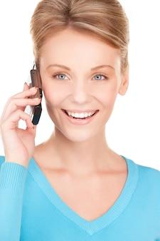 흰색 위에 전화로 행복 한 사업가의 그림