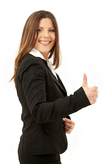 Картина счастливой успешной бизнес-леди над белой