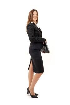 Картина счастливой успешной бизнес-леди с ноутбуком