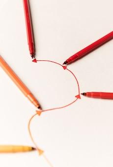 マーカーで描かれた直線ルートの画像