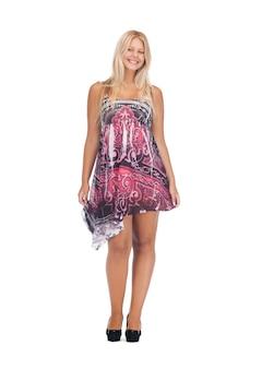 우아한 드레스를 입은 사랑스러운 십 대 소녀의 사진