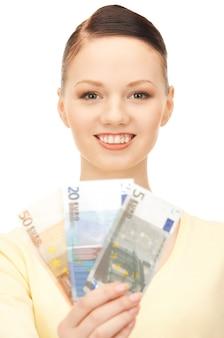Картина милая женщина с наличными деньгами евро
