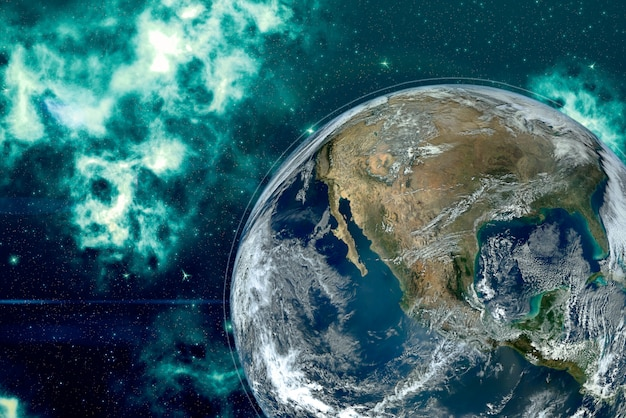 Изображение планеты земля в космосе, вокруг звезд и туманностей.