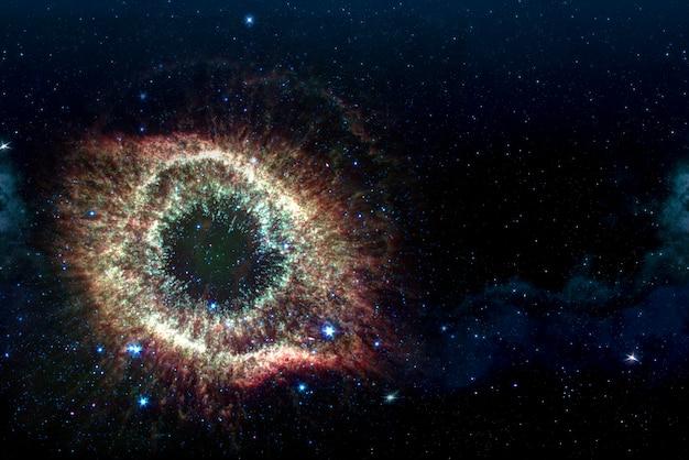 우주에서 별 성운의 그림.
