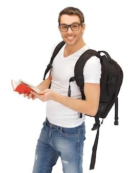 Изображение студента с рюкзаком и книгой в спецификациях