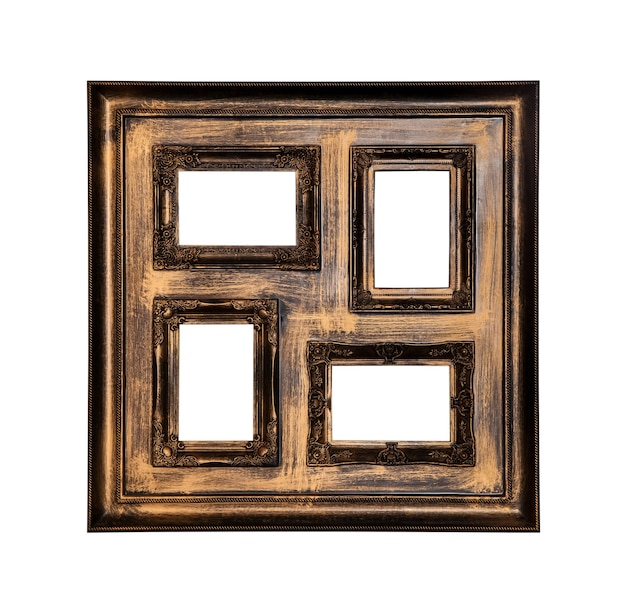 Picture photo frame antique with four windows inside isolated on white