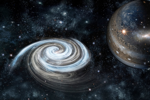 Picture of planet in space, nebula and stars. the elements of this image furnished