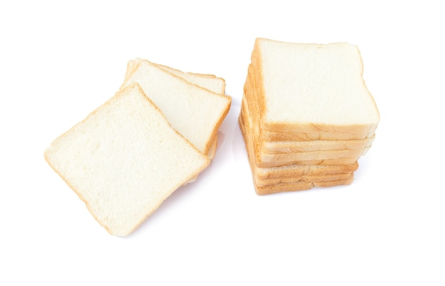 Picture of sliced soft and sticky delicious white bread for breakfast on white isolated
