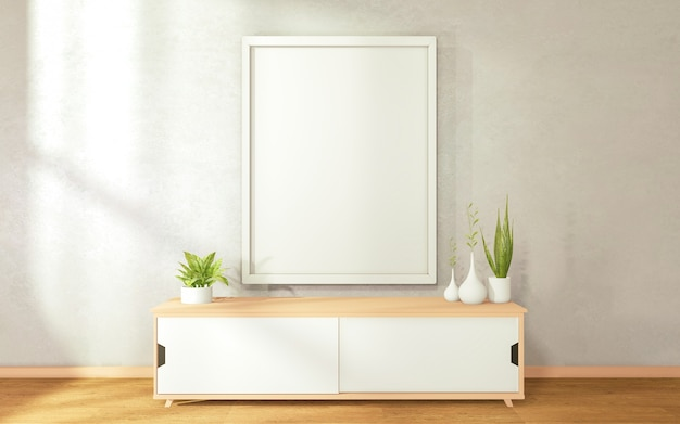Picture of a white hat on the wall cabinet in modern zen living room. 3d rendering