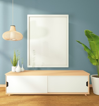 Picture of a white hat on the wall cabinet in modern zen living room dark wall. 3d rendering