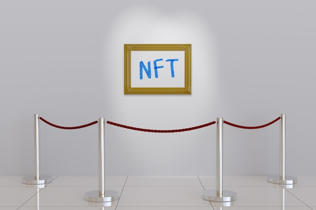 Картина с текстом ntf на стене музея.