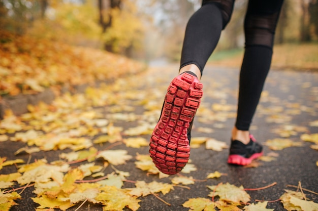 Picture of woman' legs in park on road. she runs. woman wears black with red crosses and black sport pants. yellow leaves are on road. everything is covered with them.