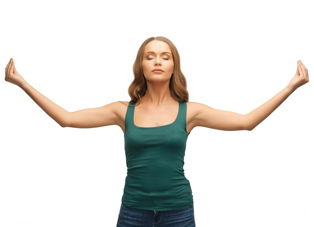 Picture of woman practicing yoga lotus pose