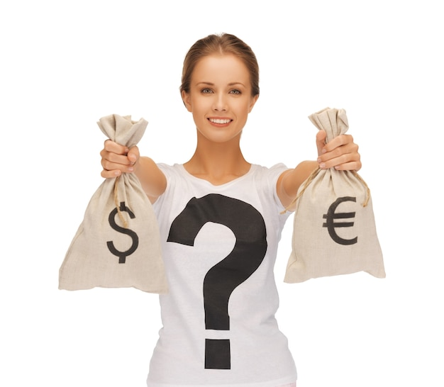 Picture of woman with dollar and euro signed bags