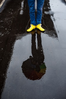 Picture of young businessman 39 s yellow shoes in rainy street