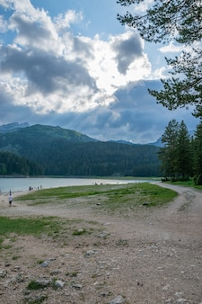 The picturesque black lake in durmitor national park among the mountains.
