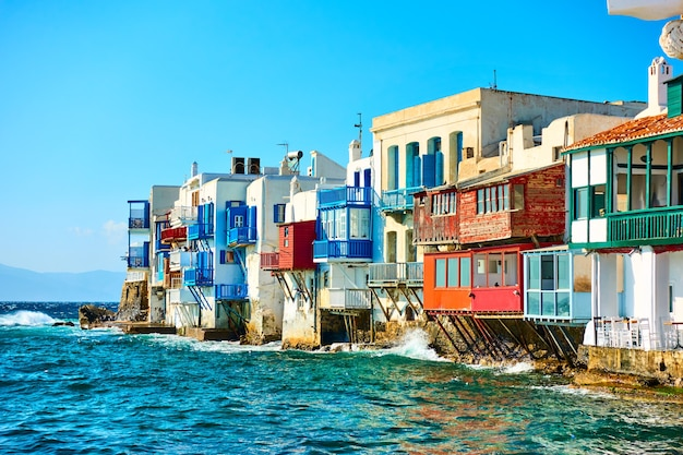 Picturesque houses of little venice in mykonos island, cyclades, greece