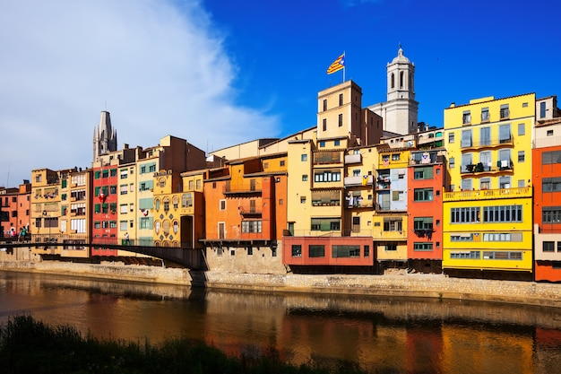 Picturesque houses on the river bank. girona