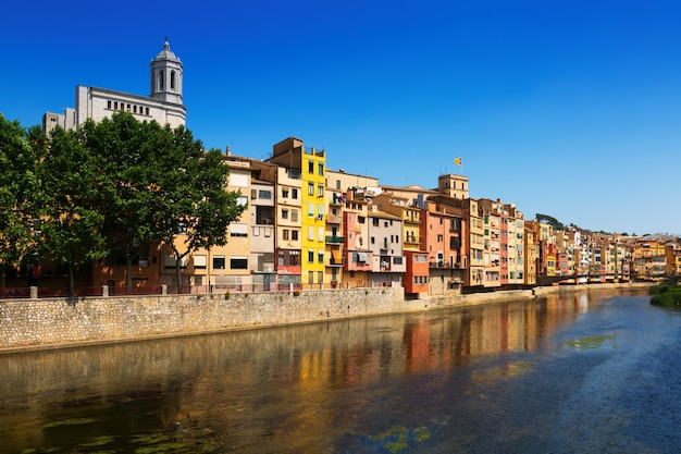 Picturesque houses on river bank of onyar. girona