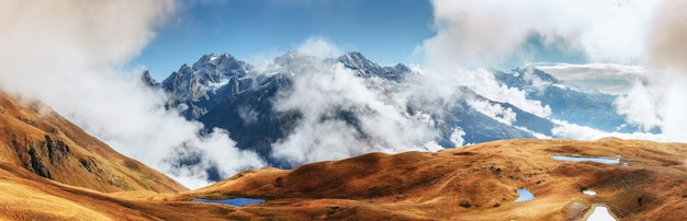 The picturesque landscape in the mountains. upper svaneti