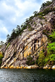 The picturesque landscape rocks, trees and sea