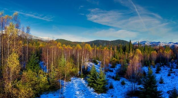 ウクライナのカルパティア山脈のdzembronyaの村の近くに雪が降る秋の絵のように美しい山の風景。