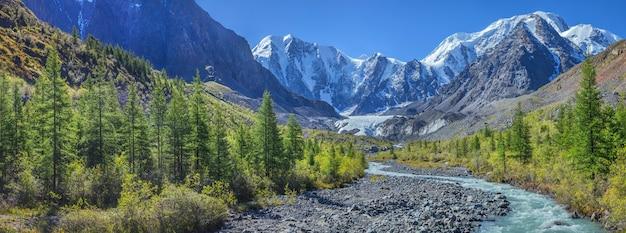 Живописная горная долина с рекой и заснеженными вершинами