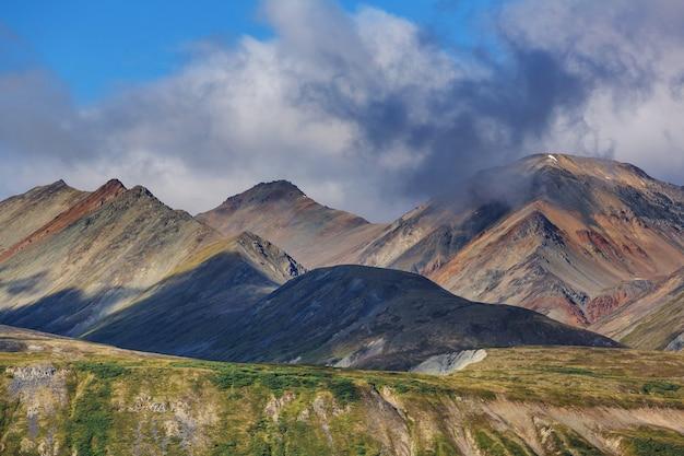 여름철 캐나다 로키 산맥의 그림 같은 마운틴 뷰
